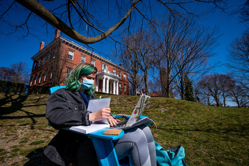 Studying on President's Lawn