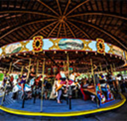 An ornate musical carousel complete with horses, carriages and riders spinning to their delight