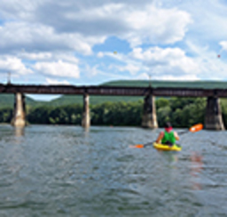A happy kayaker paddles the open river as they navigate toward a highway bridge on a beautiful and sunny day.