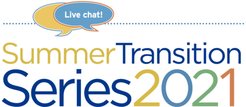 Multicolored Summer Transition Series 2021 logo with live chat bubble
