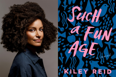 Author photo of Kiley Reid on left side. Right side is a book cover. Blue and black graphic background with