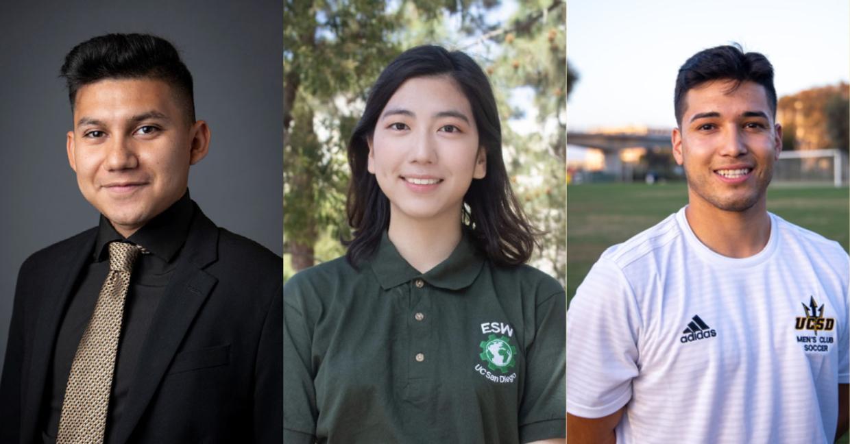Three undergraduate student portraits
