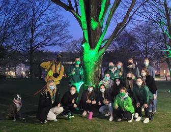 Green Dot Ambassadors (15 students posing around tree illuminated with green light on Academic Quad)