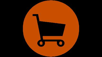 burnt orange circle with blank cutout image of white shopping cart