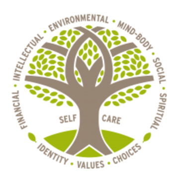 Duke Wellness logo. Brown tree with 6 branches and green leaves and grass. Root of tree says