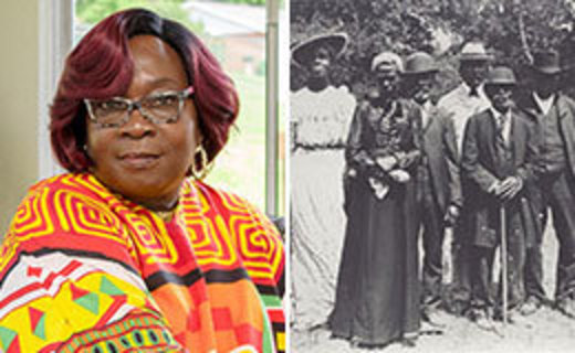 portrait of Carol Asamoah next to a photo from 1900 of an early Juneteenth celebration in Texas