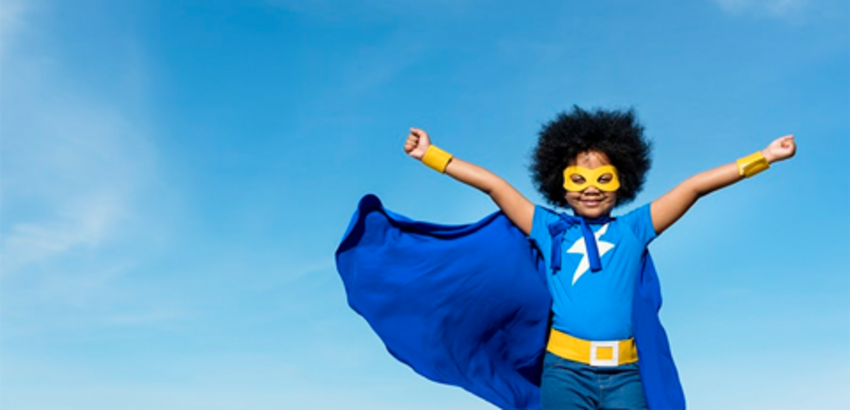 Child in superhero costume with blue cape, link to ways to celebrate summer with the library