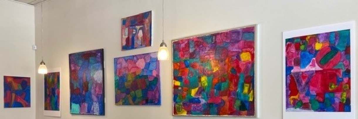 Colleen's artwork hanging at local coffee shop JAM Parkside.