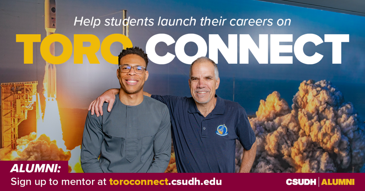 CSUDH alumnus pictured with current student