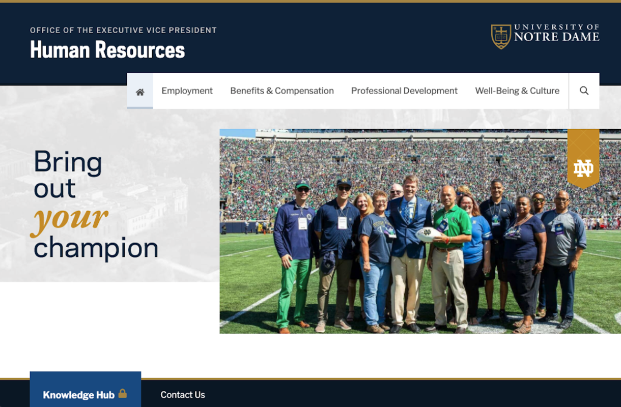 Screenshot of the new HR website homepage.