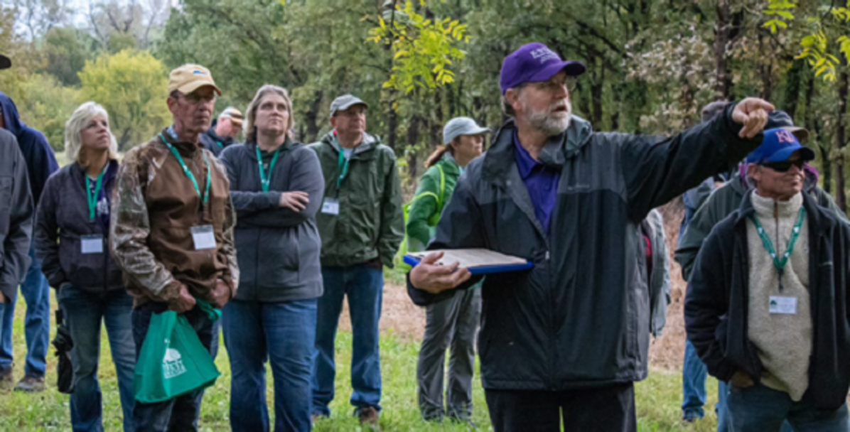 Extension forester Charles Barden describes the seed orchard development for black walnut and bur oak, at the Geyer Forestry Center.