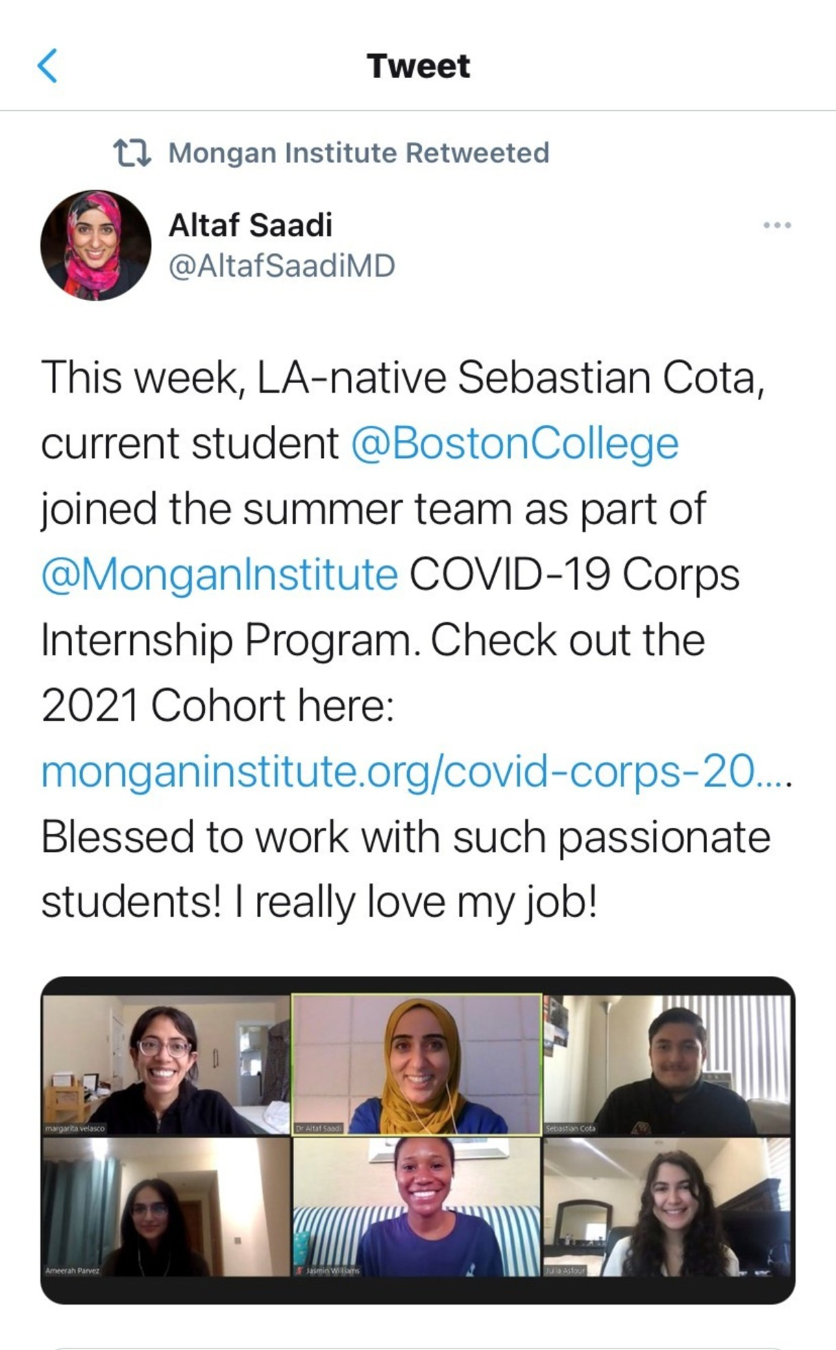 This week, LA-native Sebastian Cota, current student @BostonCollege joined the summer team as part of @MonganInstitute COVID-19 Corps Internship Program. Check out the 2021 Cohort here: https://monganinstitute.org/covid-corps-2021-cohort. Blessed to work with such passionate students! I really love my job!
