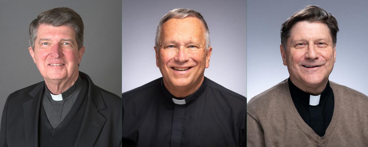 Photos of Rev. Paul Doyle, C.S.C., Rev. Jim Bracke, C.S.C., and Rev. Tim O'Connor, C.S.C.