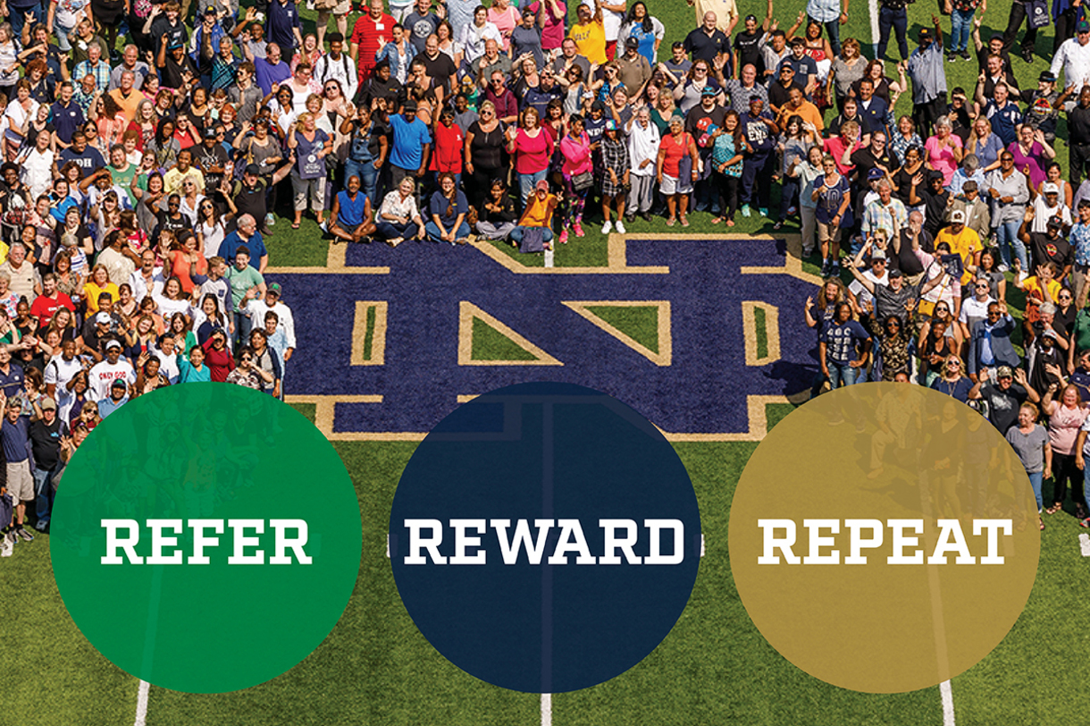 Refer, Reward, Repeat graphic promoting the job candidate referral program.