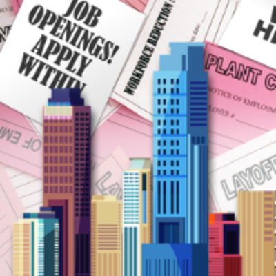 clip art city scape in front of a background with pink slips and a