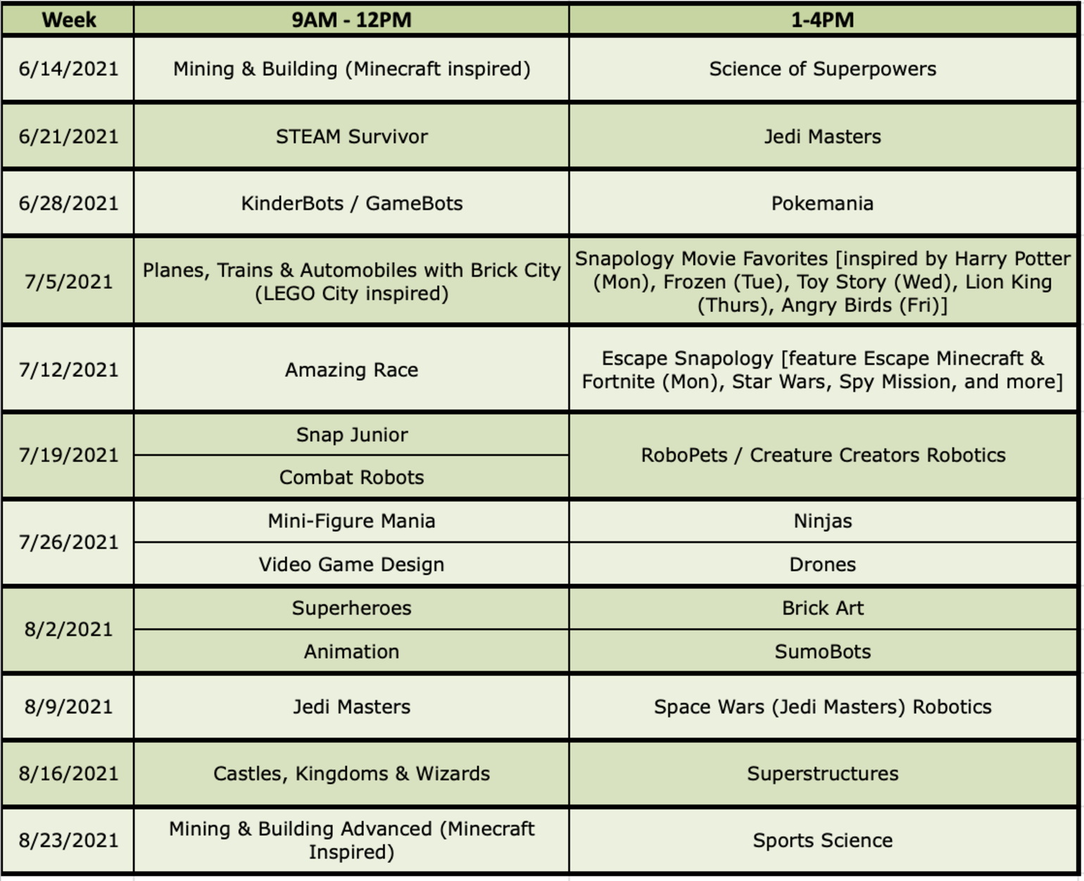 Snapology Summer Camp Schedule