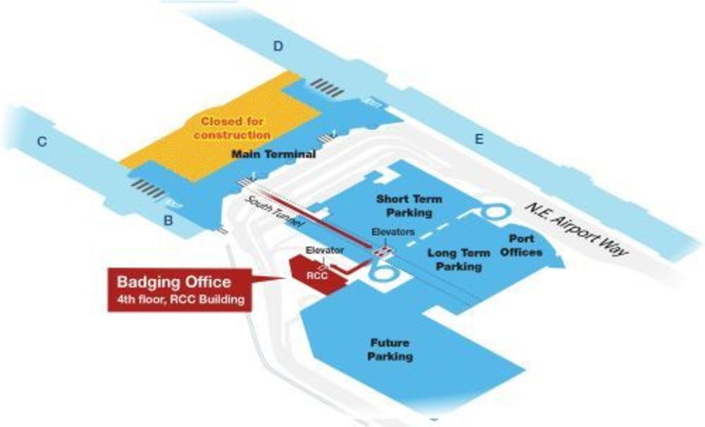 Map of path from PDX main terminal to the new Rental Car Center building
