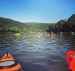 A kayakers point-of-view of other kayakers in the same group on the calm waters of a river flanked by forested hills and blue skies
