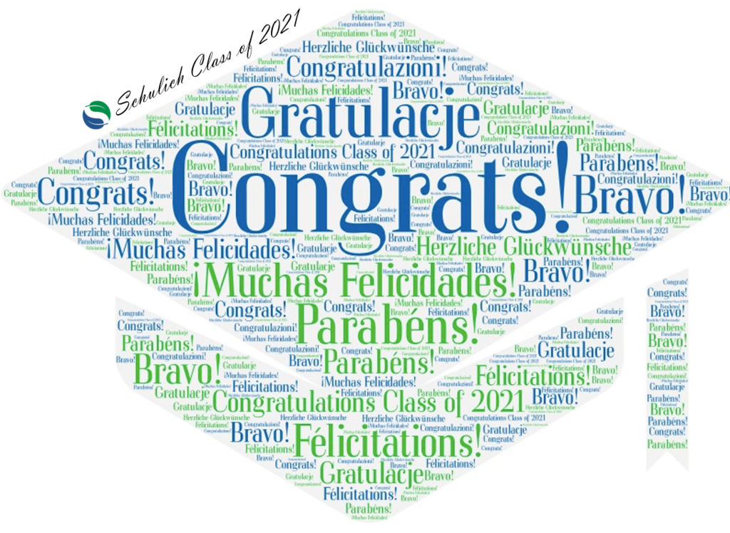 Congratulations written in different languages in the shape of a blue and green grad cap