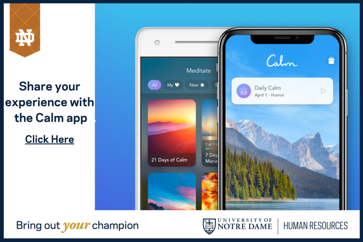 Shre your experience with the Calm app. Click here.