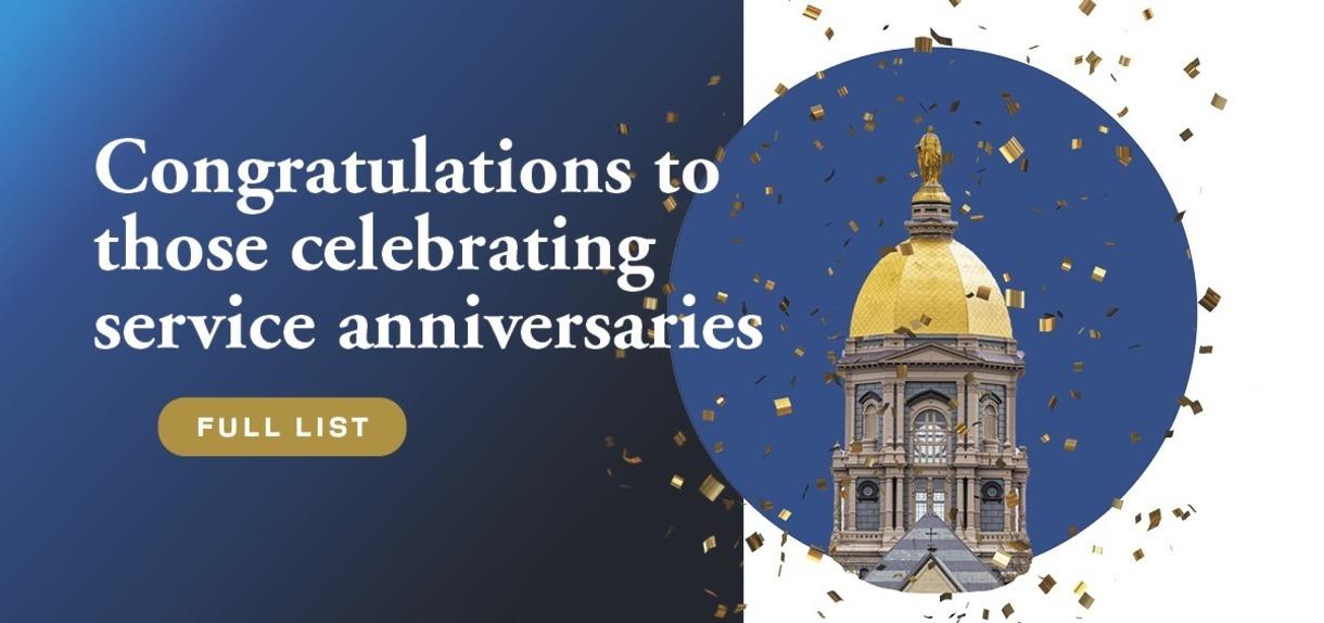 Congratulations to those celebrating service anniversaries - Full list