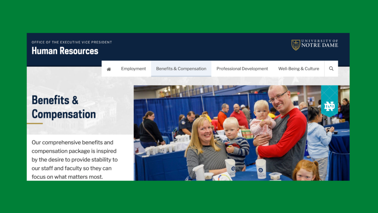 Benefits and Compensation page of the HR website.