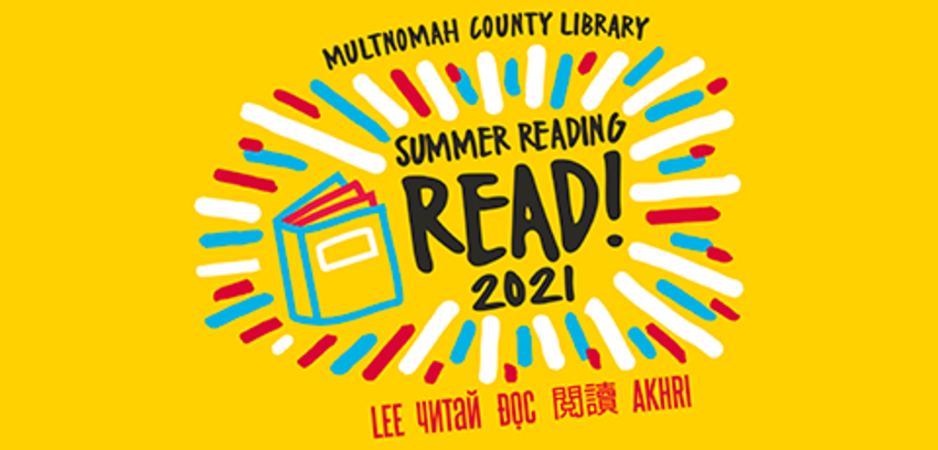 Logo for and link to Summer Reading 2021