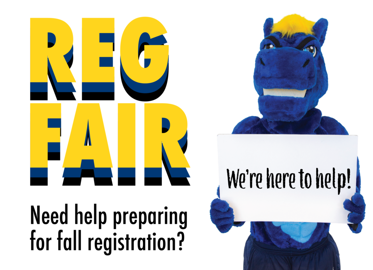 Reg Fair: Need help preparing for fall registration? Charlie the Charger says,