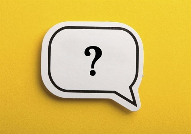 Question mark in a speech bubble on a yellow background.