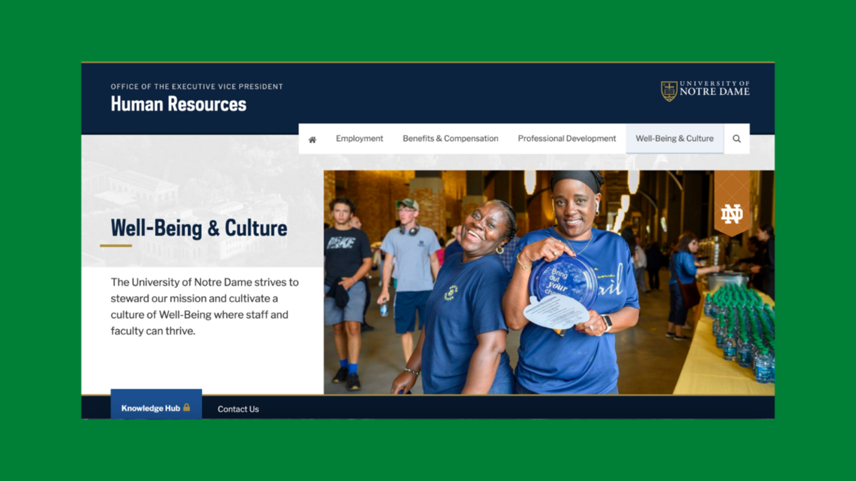 Well-being and culture page of hr.nd.edu