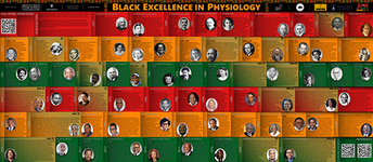Image of this newsletter's banner- a poster showing 68 Black physiologists. Most blurbs are accompanied by an image of the physiologist, but some have the photos missing. Physiologists from VU and from the MPB department are distinguished with an oak-leaf V and an