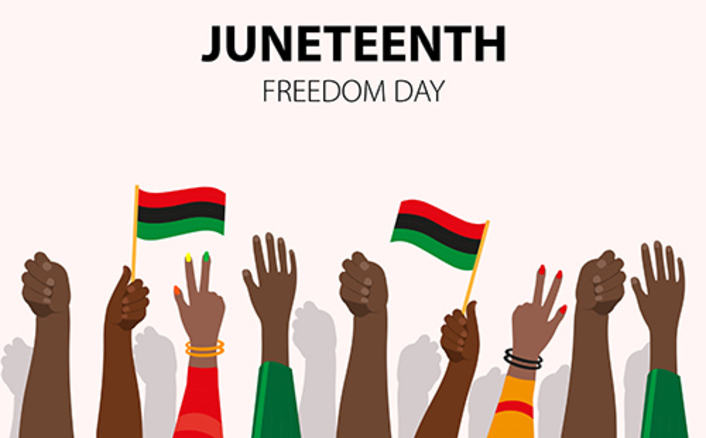 Image of hands raised in celebration of Juneteenth Freeom Day. Two hands are waving flags with red, black, and green horizontal stripes.