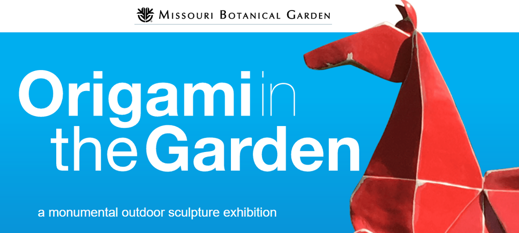 flyer for Origami in the Garden with big horse statue in origami style