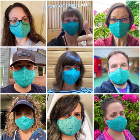 A collage of nine people wearing masks made with PDX carpet print fabric.