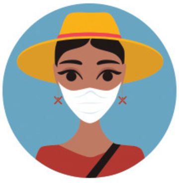 Stylized cartoon of a woman wearing a face covering.
