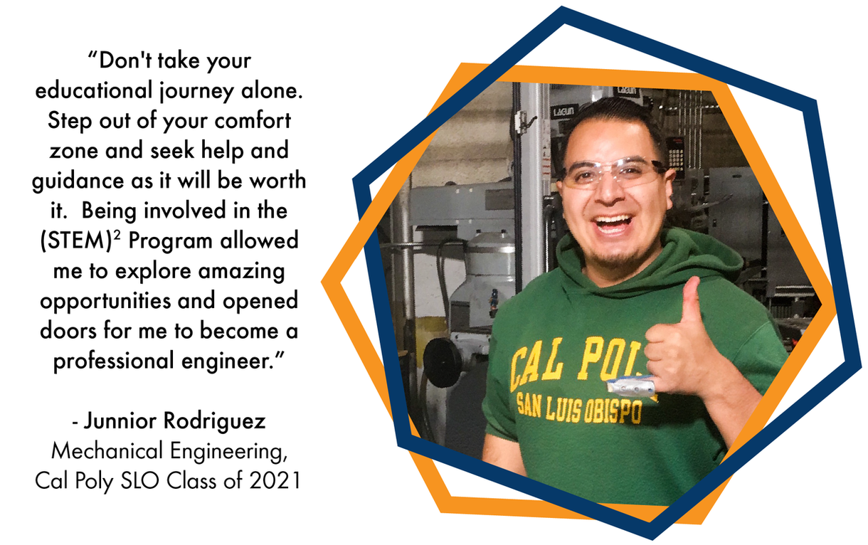 Photo of former (STEM)2 student Junnior Rodriguez, a mechanical engineering graduate of the Cal Poly SLO Class of 2021: