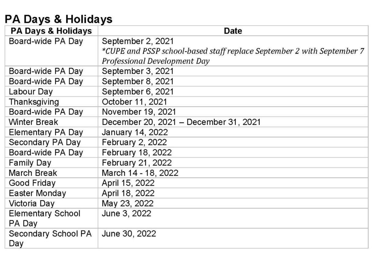 PA Days & Holidays