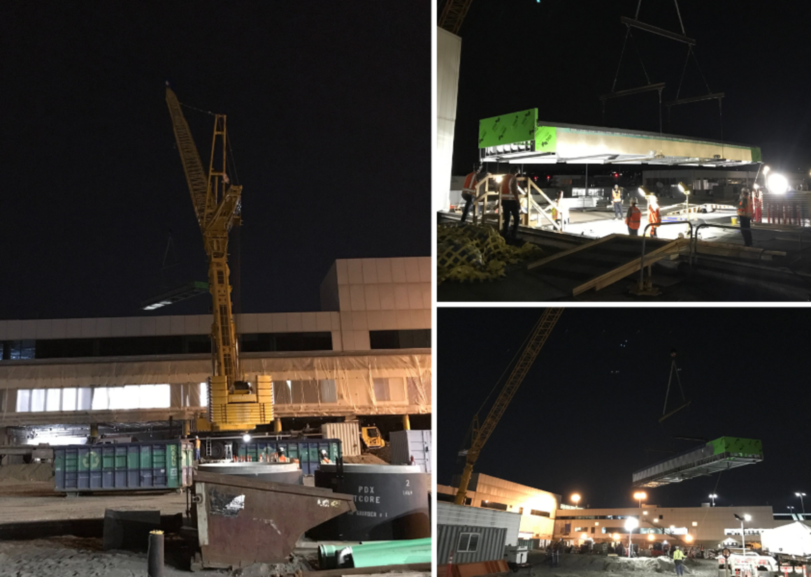 Three images of a giant crane at PDX, picking up pieces of HVAC ductwork.