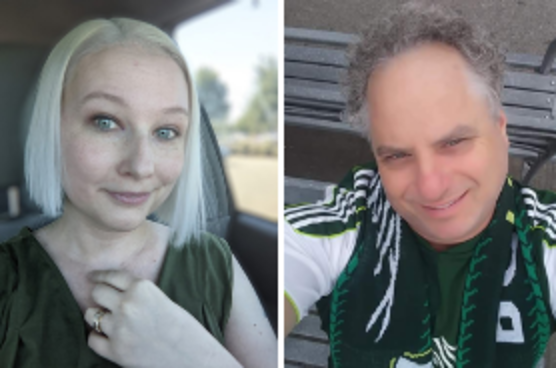 Blond woman with green shirt (Carrie Countryman) and man with curly hair and Timber uniform (Rob Selby) were honored for PDX People customer service awardsawards.