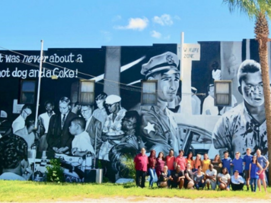 Hope and History Mural with class infront in group photo