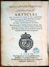 1604 treaty between Henri IV of France and Ottoman sultan Ahmed I