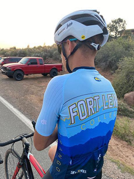 Jarier Laureano models new FLC cycling team jersey