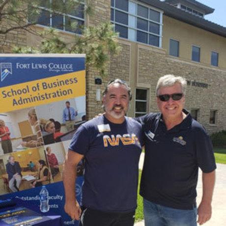 NASA's Walt Ugalde and Professor Michael Valdez on campus