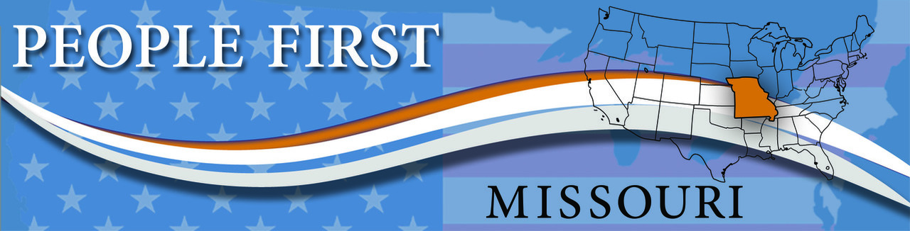 People First of Missouri header - shows a map of the United States with Missouri in bright color