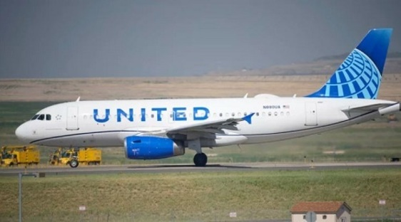 United airlines plane on a runway.