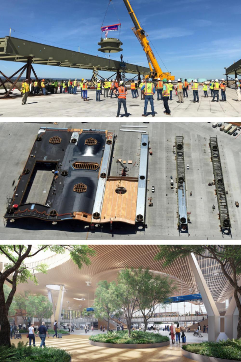 Top image: A crane lifting a steel piece with an american flag on to a giant steel beam. Middle: an aerial view of the new roof being constructed. Bottom: A rendering of the future interior of the ticket lobby at PDX featuring the wooden roof.