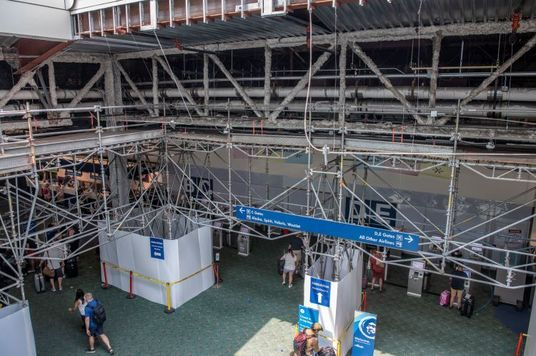 View of the PDX ticket lobby from above, showing scaffolding.