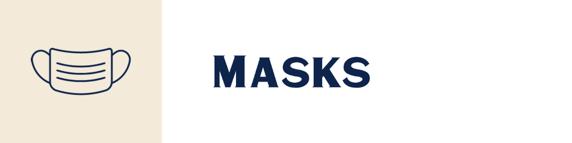 Line drawing of a surgical mask, text says Masks