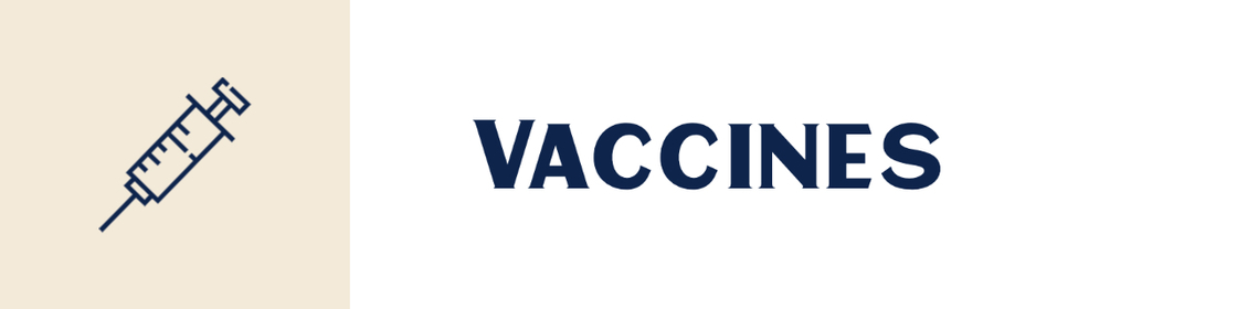 Line drawing of a needled with vaccine, text says Vaccines