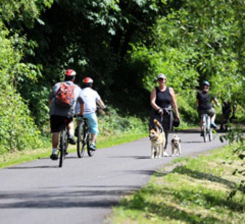 Biking on the Springwater Trail in Gresham.